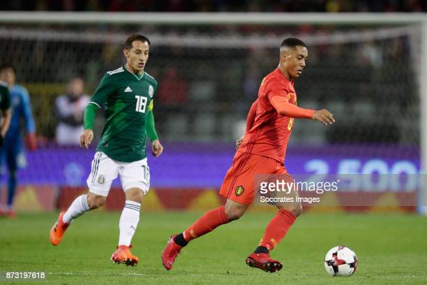 Andres Guardado of Mexico Youri Tielemans of Belgium during the International Friendly match between Belgium v Mexico at the Koning Boudewijnstadion...