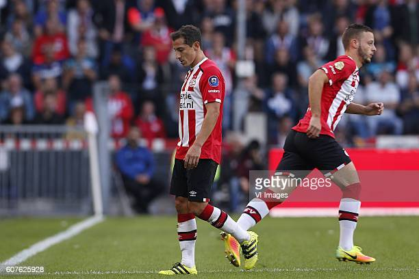Andres Guardado of PSV Bart Ramselaar of PSV during the Dutch Eredivisie match between PSV Eindhoven and Feyenoord Rotterdam at the Phillips stadium...