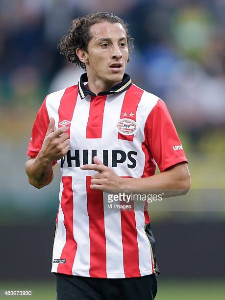 Andres Guardado of PSV during the Dutch Eredivisie match between ADO Den Haag and PSV Eindhoven at Kyocera stadium on August 11 2015 in The Hague The...