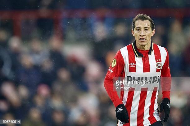 Andres Guardado of PSV during the Dutch Eredivisie match between PSV Eindhoven and FC Twente at the Phillips stadium on January 24 2016 in Eindhoven...