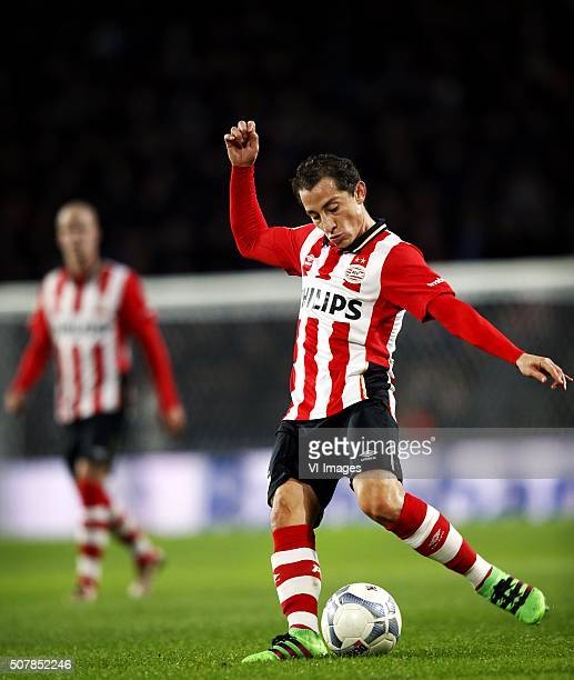 Andres Guardado of PSV during the Dutch Eredivisie match between PSV Eindhoven and De Graafschap at the Phillips stadium on January 30 2016 in...