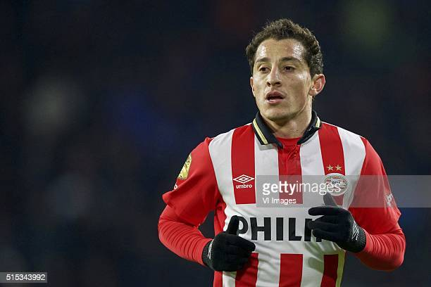 Andres Guardado of PSV during the Dutch Eredivisie match between PSV and sc Heerenveen at the Phillips Stadium on march 12 2016 in Eindhoven the...