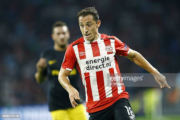 Andres Guardado of PSV Eindhoven during the UEFA Champions League group D match between PSV Eindhoven and Atletico Madrid on September 13 2016 at the...
