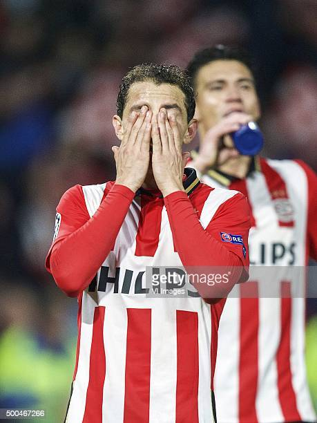 Andres Guardado of PSV Hector Moreno of PSV during the UEFA Champions League match between PSV Eindhoven and CSKA Moscow on December 8 2015 at the...