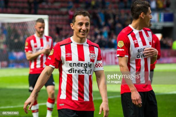 Andres Guardado of PSV Hector Moreno of PSVduring the Dutch Eredivisie match between PSV Eindhoven and PEC Zwolle at the Phillips stadium on May 14...