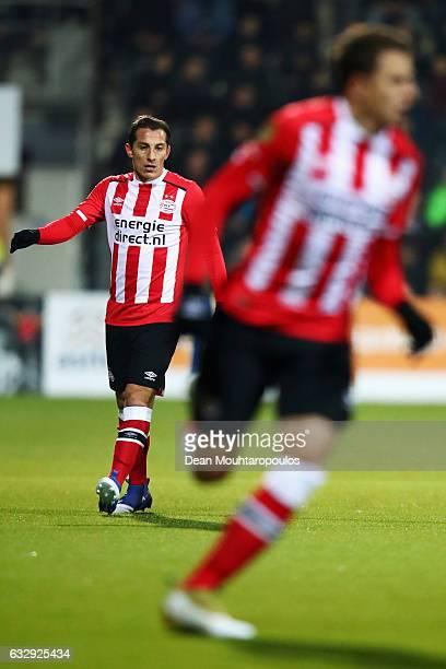 Andres Guardado of PSV in action during the Dutch Eredivisie match between Heracles Almelo and PSV Eindhoven held at Polman Stadion on January 28...