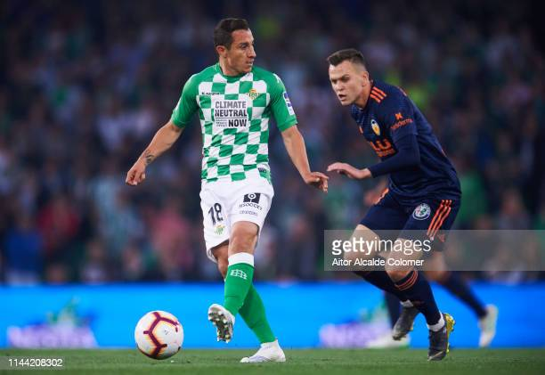 Andres Guardado of Real Betis Balompie duels for the ball with Denis Cheryshev of Valencia CF during the La Liga match between Real Betis Balompie...