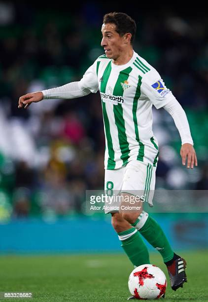 Andres Guardado of Real Betis Balompie in action during the Copa del Rey Round of 32 Second Leg match between Real Betis Balompie and Cadiz CF at...