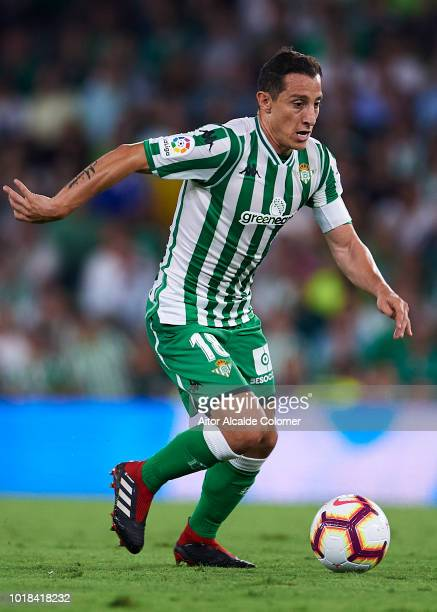 Andres Guardado of Real Betis Balompie in action during the La Liga match between Real Betis Balompie and Levante UD at Estadio Benito Villamarin on...