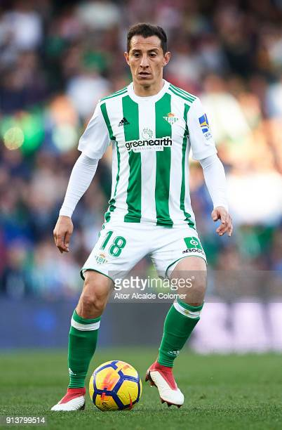 Andres Guardado of Real Betis Balompie in action during the La Liga match between Real Betis and Villarreal at Estadio Benito Villamarin on February...