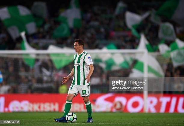 Andres Guardado of Real Betis Balompie in action during the La Liga match between Real Betis and Las Palmas at Estadio Benito Villamarin on April 19...