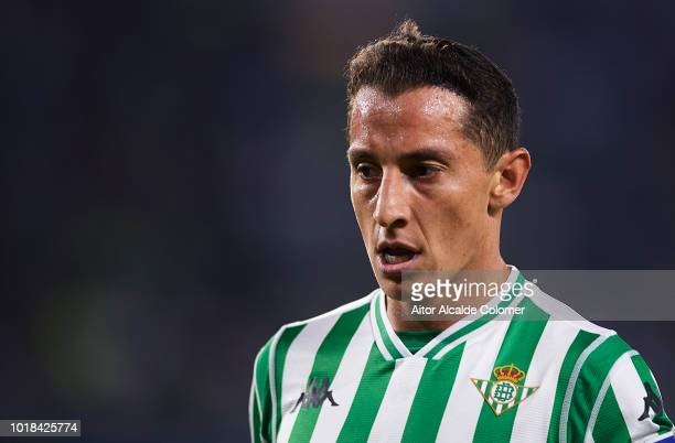 Andres Guardado of Real Betis Balompie looks on during the La Liga match between Real Betis Balompie and Levante UD at Estadio Benito Villamarin on...