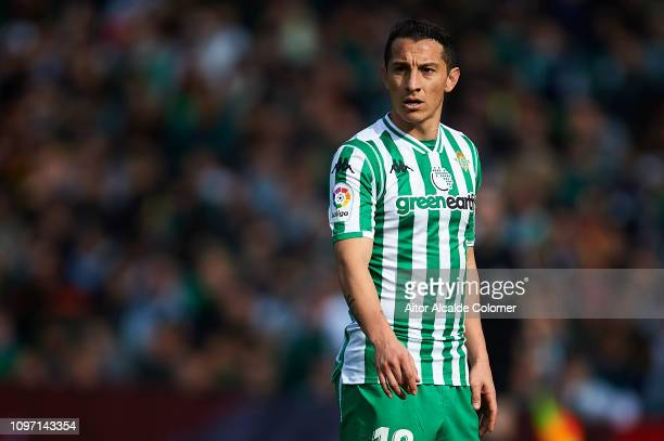 Andres Guardado of Real Betis Balompie looks on during the La Liga match between Real Betis Balompie and Girona FC at Estadio Benito Villamarin on...