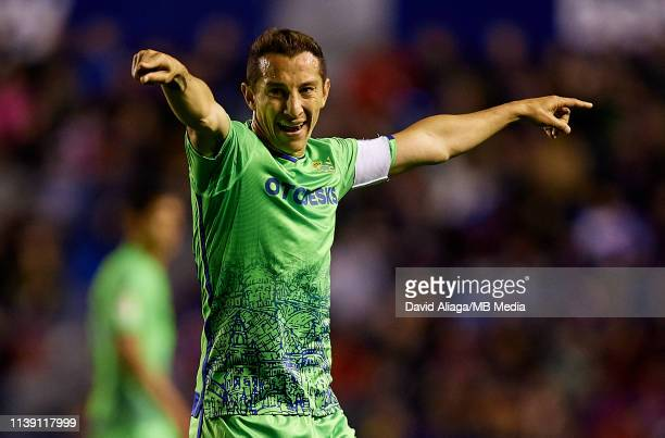 Andres Guardado of Real Betis Balompie reacts during the La Liga match between Levante UD and Real Betis Balompie at Ciutat de Valencia on April 24...