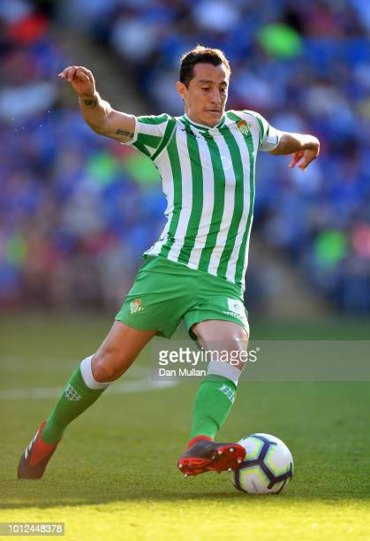 Andres Guardado of Real Betis controls the ball during the PreSeason Friendly match between Cardiff City and Real Betis at Cardiff City Stadium on...