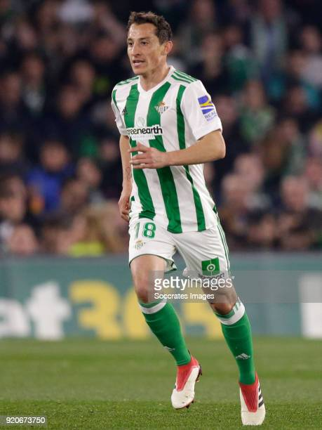 Andres Guardado of Real Betis during the La Liga Santander match between Real Betis Sevilla v Real Madrid at the Estadio Benito Villamarin on...