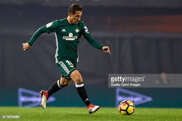 Andres Guardado of Real Betis in action during the La Liga match between Celta de Vigo and Real Betis at Balaidos Stadium on January 29 2018 in Vigo...