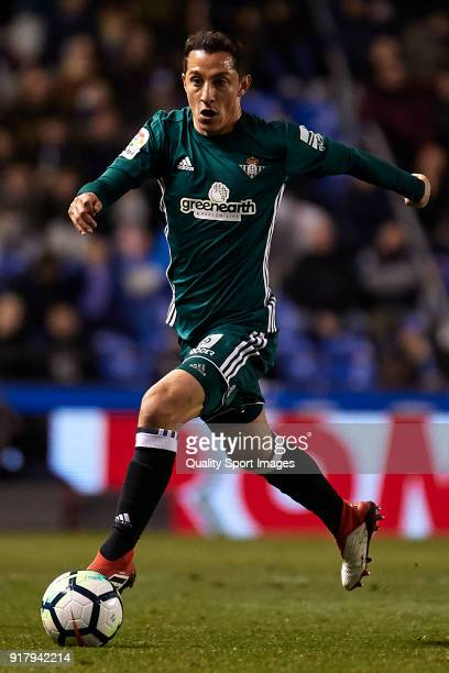 Andres Guardado of Real Betis in actionduring the La Liga match between Deportivo La Coruna and Real Betis at Abanca Riazor Stadium on February 12...