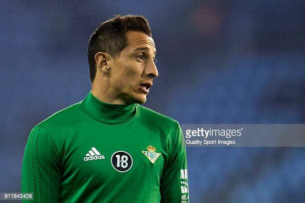 Andres Guardado of Real Betis looks on prior to the La Liga match between Celta de Vigo and Real Betis at Balaidos Stadium on January 29 2018 in Vigo...