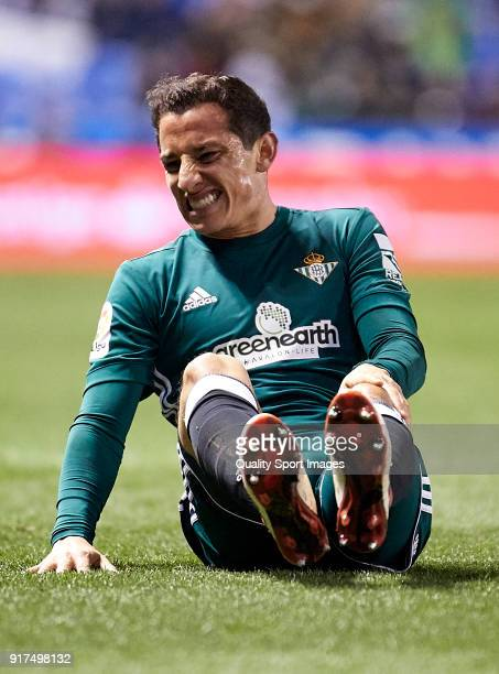 Andres Guardado of Real Betis reacts on the pitch during the La Liga match between Deportivo La Coruna and Real Betis at Riazor Stadium on February...