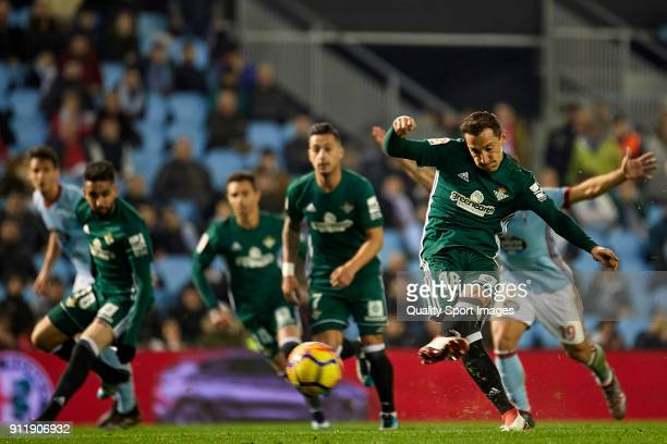 Andres Guardado of Real Betis shots a penalty and scores the second goal for his team during the La Liga match between Celta de Vigo and Real Betis...
