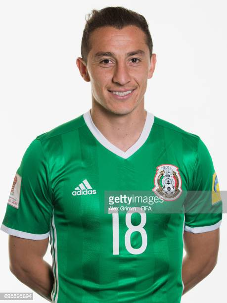 Andres Guardado poses for a picture during the Mexico team portrait session on June 14 2017 in Kazan Russia