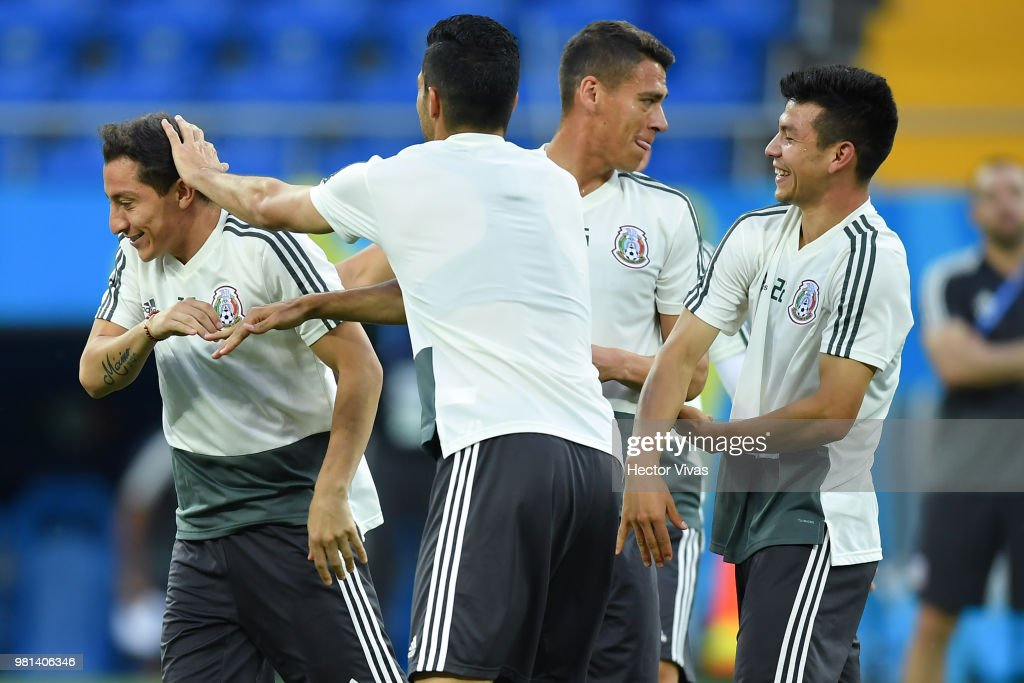 Andres Guardado, Raul Jimenez, Hector Moreno and Hirving Lozano of Mexico warm up during a training session ahead of the match against Korea as part of FIFA World Cup Russia 2018 at Rostov Arena on June 22, 2018 in Rostov, Russia.