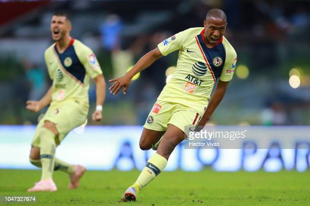 Andres Ibarguen of America celebrates after scoring the first goal of his team during the 11th round match between America and Chivas as part of the...