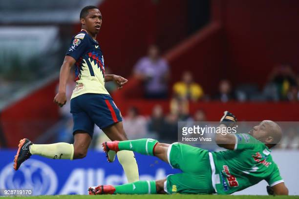 Andres Ibarguen of America celebrates after scoring the fourth goal of his team during the match between America and Tauro FC as part of the CONCACAF...