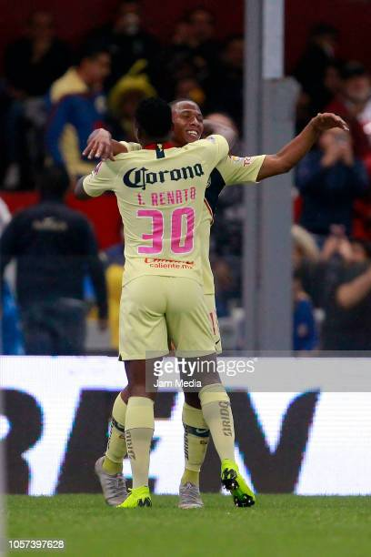 Andres Ibarguen of America celebrates with Renato Ibarra after scoring the second goal of his team during the 13th round match between America and...