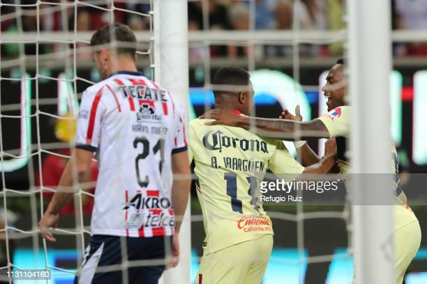 Andres Ibarguen of America celebrates with teamates after scoring the second goal of his team during the 11th round match between Chivas and America...