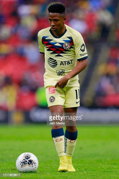 Andres Ibarguen of America drives the ball during a quarter final first leg match between Club America and Atlanta United as part of CONCACAF...