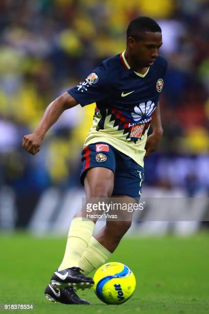 Andres Ibarguen of America drives the ball during the 7th round match between America and Monarcas as part of the Torneo Clausura 2018 Liga MX at...