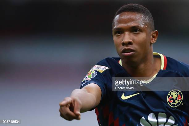 Andres Ibarguen of America gestures during the match between America and Tauro FC as part of the CONCACAF Champions League 2018 at Azteca Stadium on...