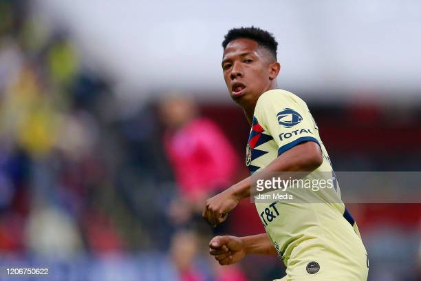 Andres Ibarguen of America looks on during the 6th round match between America and Atlas as part of the Torneo Clausura 2020 Liga MX at Azteca...