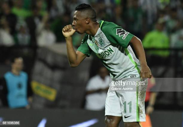 Andres Ibarguen of Atletico Nacional celebrates after scoring the second goal of his team during a match between Atletico Nacional and Chapecoense as...