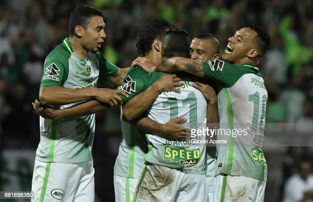 Andres Ibarguen of Atletico Nacional celebrates with teammates after scoring the second goal of his team during a match between Atletico Nacional and...