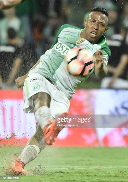 Andres Ibarguen of Nacional kicks to score the fourth goal of his team during a match between Atletico Nacional and Chapecoense as part of CONMEBOL...