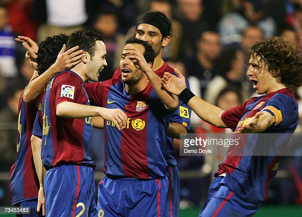Andres Inesta of Barcelona celebrates after scoring his team's second goal against Real Zaragoza during the Kings Cup quarterfinal 2nd leg match...