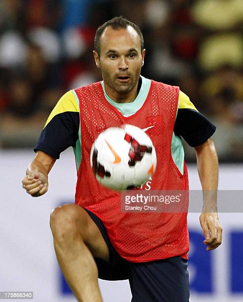 Andres Inesta of Barcelona FC controls the ball during Barcelona FC training session at Bukit Jalil National Stadium on August 9 2013 in Kuala Lumpur...