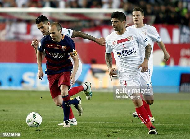 Andres Inesta of Barcelona in action during the Copa del Rey Final match between FC Barcelona and Sevilla FC at Vicente Calderon Stadium on May 22...