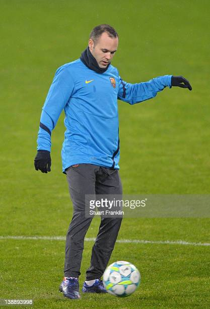 Andres Inesta of FC Barcelona controls a ball during training at the BayArena on February 13 2012 in Leverkusen Germany