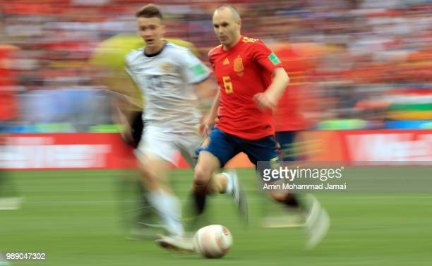 Andres Inesta of Spain in action during the 2018 FIFA World Cup Russia Round of 16 match between Spain and Russia at Luzhniki Stadium on July 1 2018...