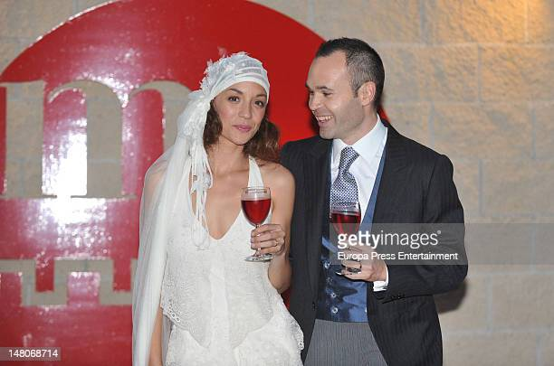Andres Iniesta and Ana Ortiz pose during their wedding at Tamarit Castle on July 8 2012 in Tarragona Spain