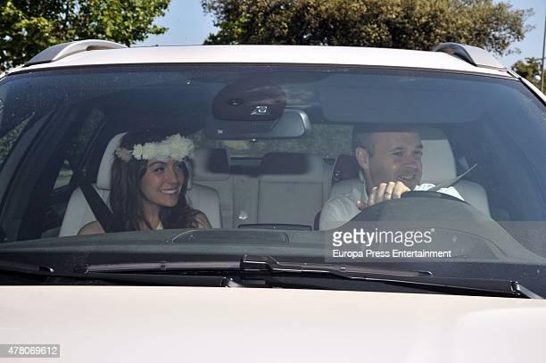 Andres Iniesta and Anna Ortiz attend Barcelona fooball player Pedro Rodriguez 'Pedrito' and Carolina Martin's wedding in La Cabrera del Mar on June...