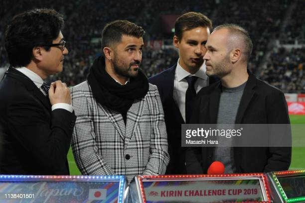 Andres Iniesta and David Villa look on prior to the international friendly match between Japan and Bolivia at Noevir Stadium Kobe on March 26 2019 in...