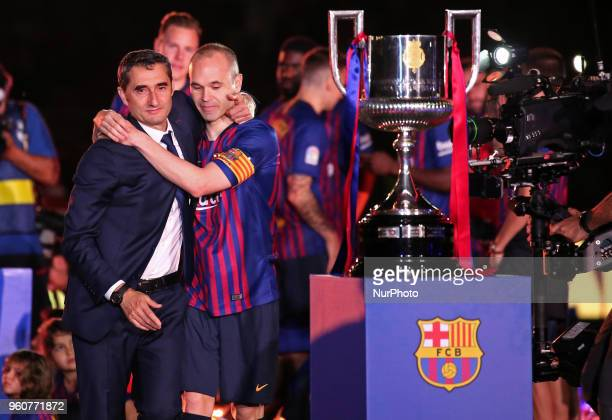 Andres Iniesta and Ernesto Valderde during the celebrations at the end of the match between FC Barcelona and Real Sociedad played at the Camp Nou...