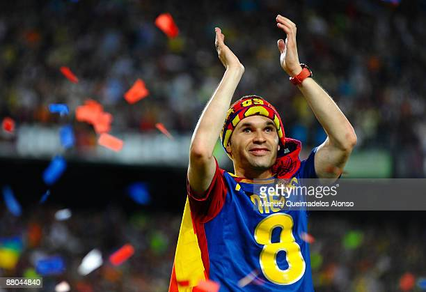 Andres Iniesta celebrates at the Nou Camp stadium the day after Barcelona won the UEFA Champions League Cup final on May 28 2009 in Barcelona Spain...