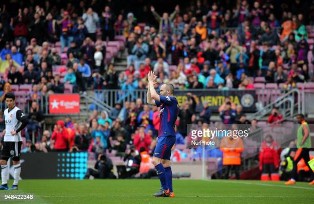 Andres Iniesta during the match between FC Barcelona and Valencia CF played at the Camp Nou Stadium on 14th April 2018 in Barcelona Spain