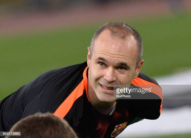 Andres Iniesta during the UEFA Champions League quarter final match between AS Roma and FC Barcelona at the Olympic stadium on April 10 2018 in Rome...